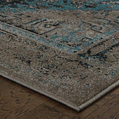 Raiden Grey/Teal Area Rug Rug Size: 110 x 33