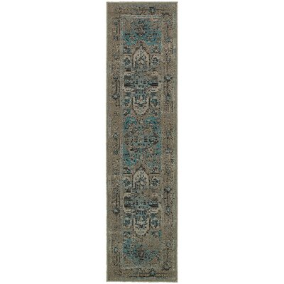 Raiden Grey/Teal Area Rug Rug Size: Runner 11 x 76