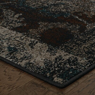 Raiden Charcoal/Brown Area Rug Rug Size: 67 x 96