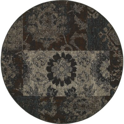 Raiden Charcoal/Brown Area Rug Rug Size: Round 78