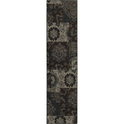 Raiden Charcoal/Brown Area Rug Rug Size: Runner 11 x 76
