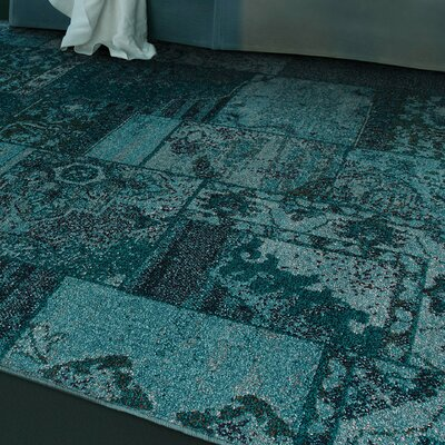 Raiden Teal/Gray Area Rug Rug Size: Rectangle 310 x 55