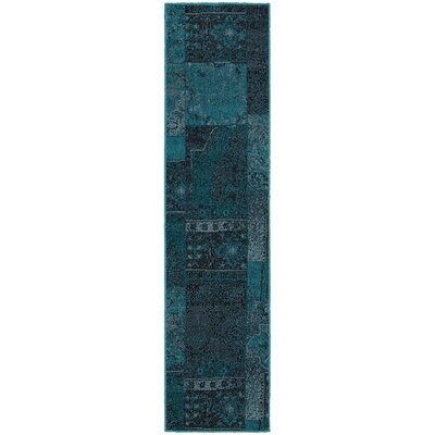 Raiden Teal/Gray Area Rug Rug Size: Runner 110 x 76
