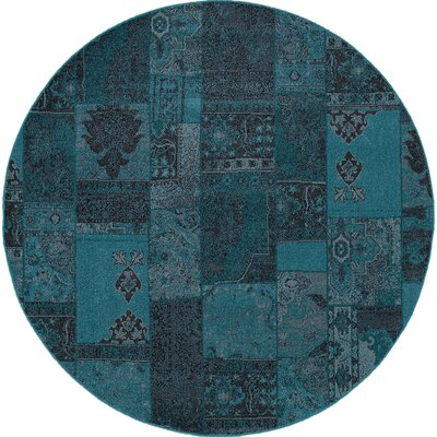 Raiden Teal/Gray Area Rug Rug Size: Round 78