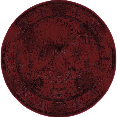 Raiden Red Area Rug Rug Size: Round 78