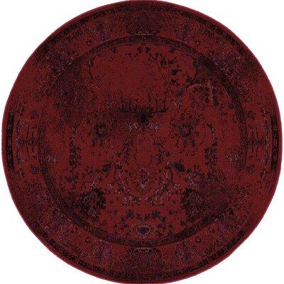 Raiden Red Area Rug Rug Size: Round 7'8