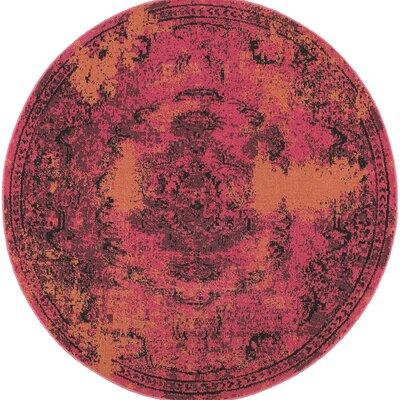 Raiden Pink/Orange Area Rug Rug Size: Round 78