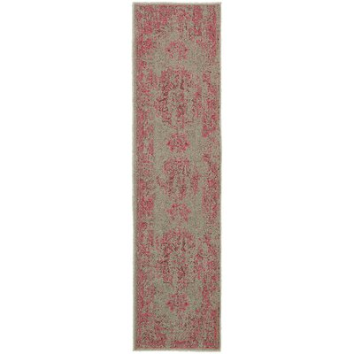 Raiden Gray/Pink Area Rug Rug Size: Runner 11 x 76
