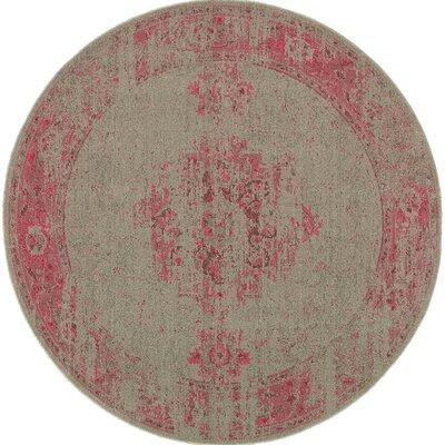 Raiden Gray/Pink Area Rug Rug Size: Round 78