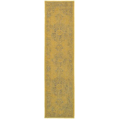 Raiden Yellow/Gray Area Rug Rug Size: Runner 110 x 76