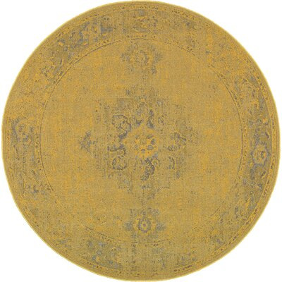Raiden Yellow/Gray Area Rug Rug Size: Round 78