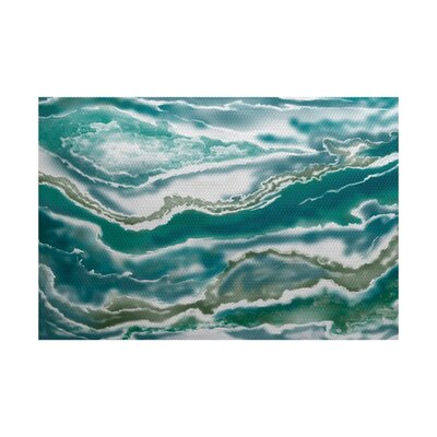 Soluri Teal Indoor/Outdoor Area Rug Rug Size: 5 x 7