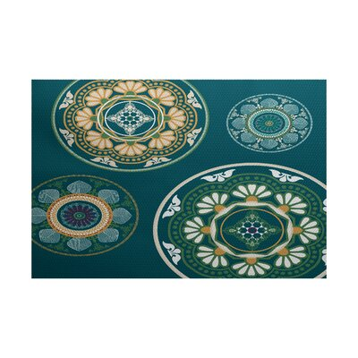 Soluri Teal Indoor/Outdoor Area Rug Rug Size: 2 x 3