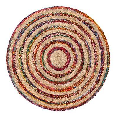 Linnea Handmade Beige/Red/Blue Area Rug Rug Size: Round 6