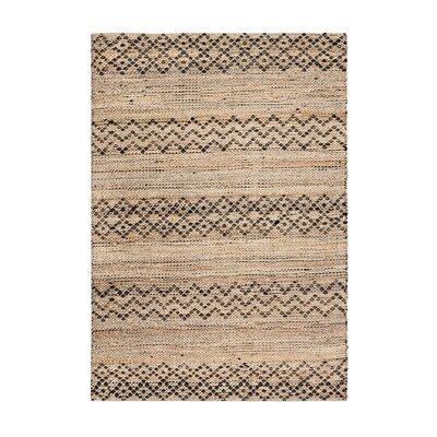Alina Hand-Woven Black/Tan Area Rug Rug Size: 5 x 8