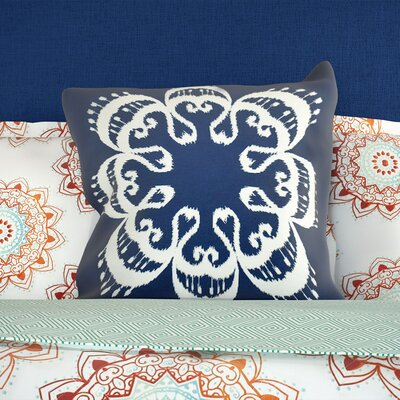 Oliver Ikat Mandala Geometric Print Throw Pillow Size: 26 H x 26 W, Color: Navy Blue