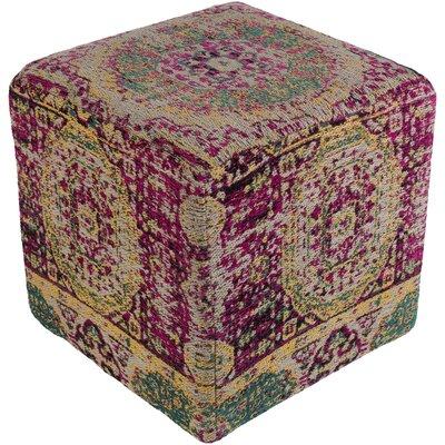 Hamza Pouf Ottoman Upholstery: Pink/Yellow
