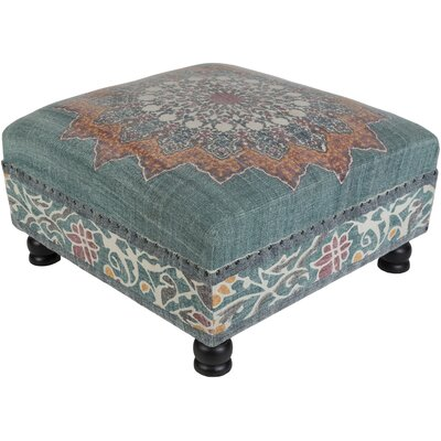 Simone Ottoman Upholstery: Teal/Orange