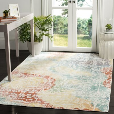 Lulu Blue/Rust Area Rug Rug Size: Rectangle 3 x 5