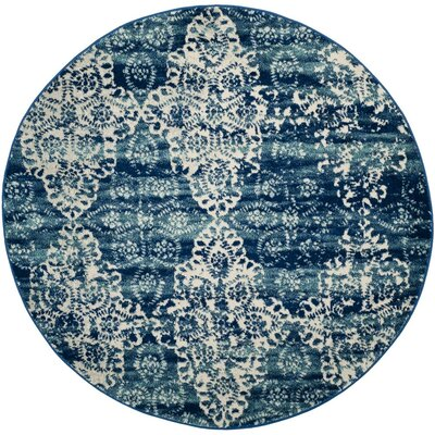 Caressa Royal/Ivory Area Rug Rug Size: Round 51
