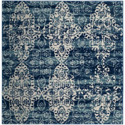 Caressa Royal/Ivory Area Rug Rug Size: Square 51
