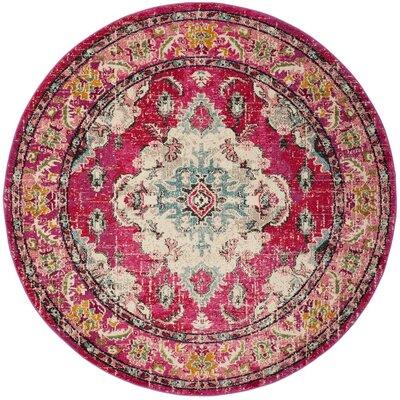Chana Pink Area Rug Rug Size: Round 67