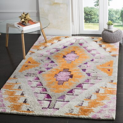 Samaniego Hand-Tufted Orange/Purple Area Rug Rug Size: 8 x 10