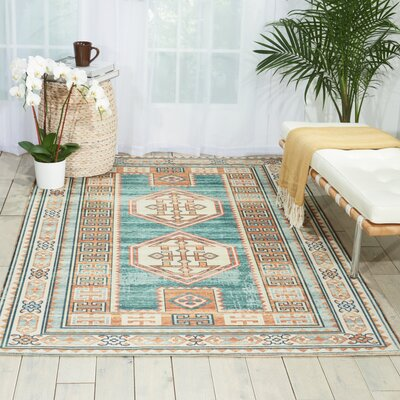 Union Point Teal/Green Area Rug Rug Size: 36 x 56