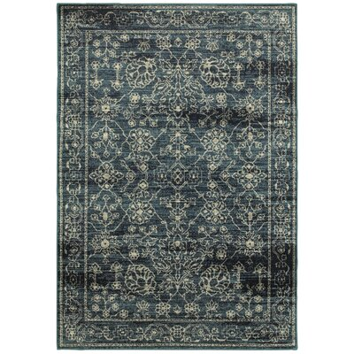 Fayanna Faded Traditions Navy/Beige Area Rug Rug Size: 53 x 76