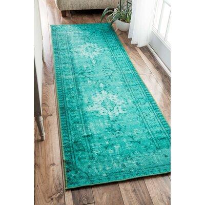 Davet Turquoise Area Rug Rug Size: Runner 28 x 8