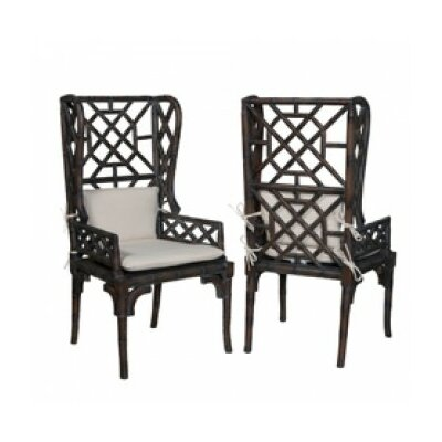 Sophia Bamboo Wingback Arm Chair Finish: Heritage Gray Stain/Light Distress
