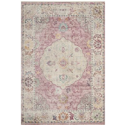 Soren Rose/Cream Area Rug Rug Size: 3 x 5