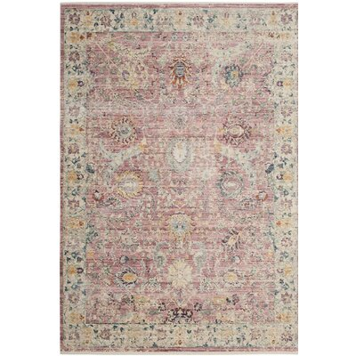 Soren Rose/Cream Area Rug Rug Size: 4 x 6