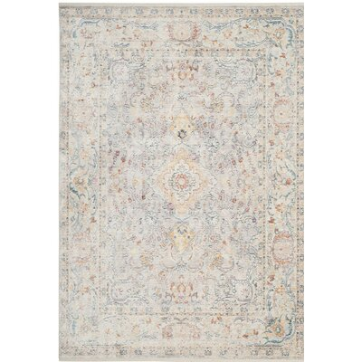 Soren Cream/Light Blue Area Rug Rug Size: Square 4