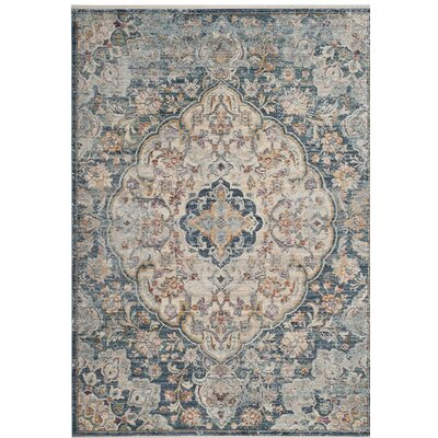 Soren Cream/Blue Area Rug Rug Size: 5 x 8