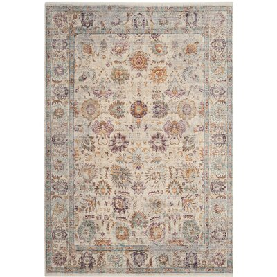 Soren Cream/Purple Area Rug Rug Size: 4 x 6