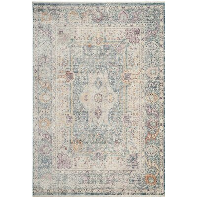 Soren Teal/Cream Area Rug Rug Size: Rectangle 4 x 6