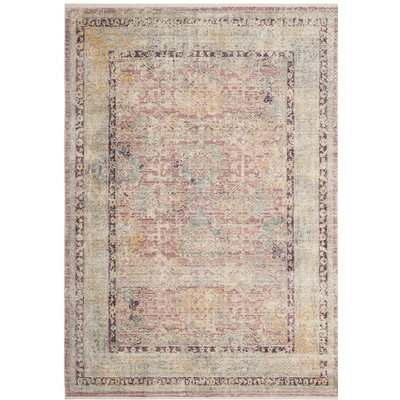 Soren Rose/Light Gray Area Rug Rug Size: Rectangle 8 x 10