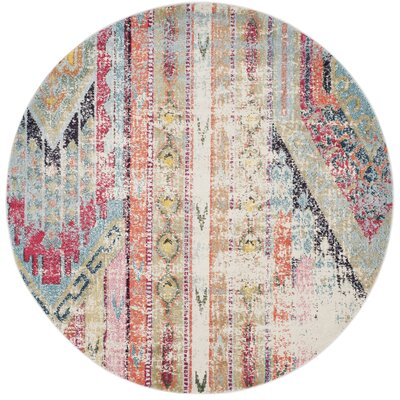 Newburyport Beige/Orange Area Rug Rug Size: Round 67