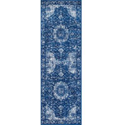Linden Admiral Blue Area Rug Rug Size: Runner 28 x 8