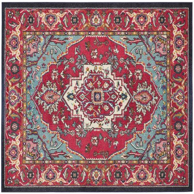 Chana Red Area Rug Rug Size: Square 5'