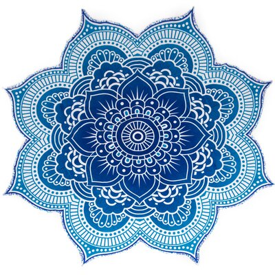 Mandala Tapestry Cotton Beach Blanket Color: Blue