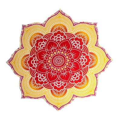 Mandala Tapestry Beach Blanket Color: Red/Yellow