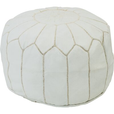 Diamanta Moroccan Pouf Cover Ottaman Upholstery: White