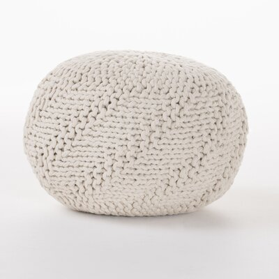 Highland Indoor/Outdoor Fabric Weave Pouf Ottoman Upholstery: Ivory