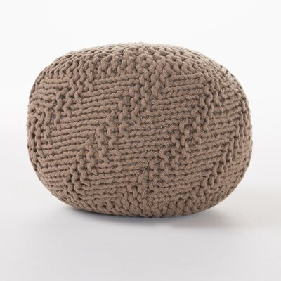 Highland Indoor/Outdoor Fabric Weave Pouf Ottoman Upholstery: Light Brown