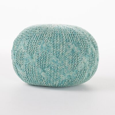 Morrow Indoor/Outdoor Fabric Weave Pouf Ottoman Upholstery: Aqua