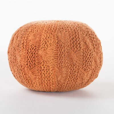 Morrow Indoor/Outdoor Fabric Weave Pouf Ottoman Upholstery: Orange