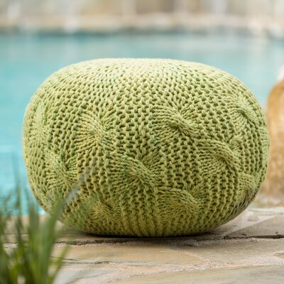 Morrow Indoor/Outdoor Fabric Weave Pouf Ottoman Upholstery: Lime