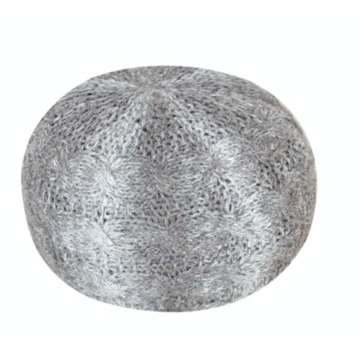 Karter Round Wool Pouf Ottoman Upholstery: Silver